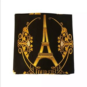 Anne McAlpin Silk Paris Scarf Black Gold 36x36 NEW
